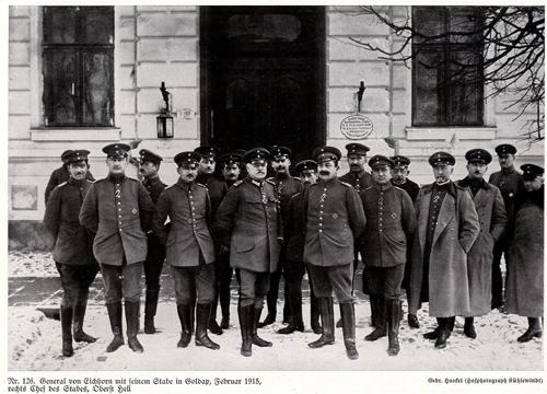 General von Eichhorn mit seinem Stabe in Goldap  Print von 1915