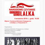 4 września 2015 r - plakat Narodowe Czytanie
