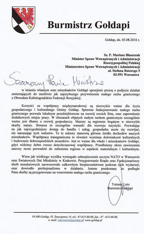 burmistrz pismo