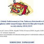 Nabór do klas pierwszych Szkoły Podstawowej nr 3 im. Tadeusza Kościuszki
